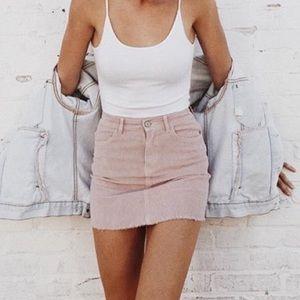 Brandy Melville blush pink corduroy mini skirt